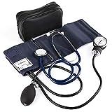 LotFancy Manuelle Blutdruckmanschette, Aneroid Blutdruckmessgerät und Stethoskop Set mit Reißverschluss-Etui für Rettungsdienst, Arzt, Praxis, CE zertifiziert